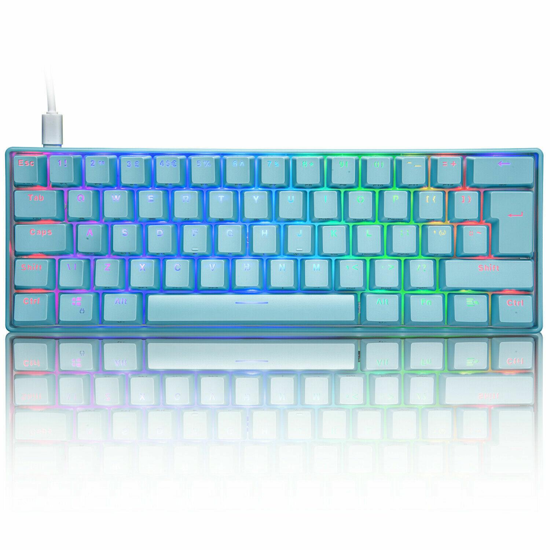 60% True Mechanical Gaming Keyboard Wired 61 Keys RGB Backli