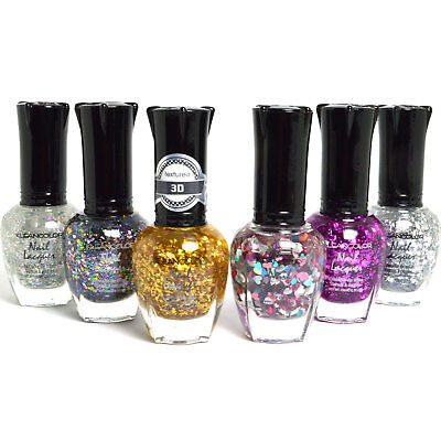 KLEANCOLOR NAIL POLISH GLITTER HALF COLLECTION - LOT OF 6 BEST COLORS ! (Best Glitter Top Coat)