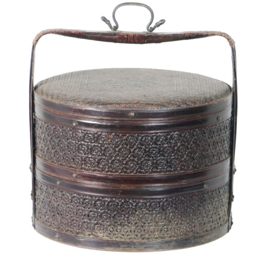 """Antique Chinese  2 Tier Round Cane and Bamboo Food Carrier Basket 16"""" Dia 16"""" T"""
