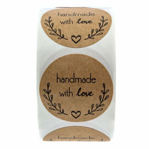 """Handmade with Love Stickers 1.5"""" Inch Round Natural Kraft 500 Labels per roll"""