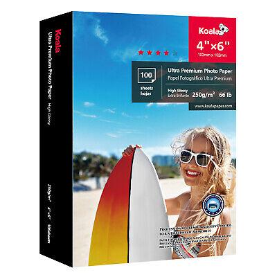 "Koala 100 Sheets 4x6"" Ultra Premium Glossy Inkjet Printer Photo Paper Canon"