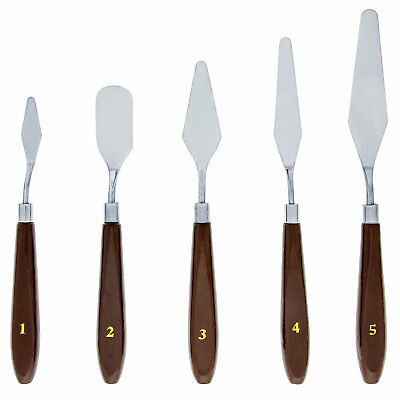 US Art Supply 5 Piece Stainless Painting Palette Knife Set M