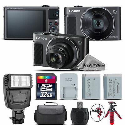 Canon PowerShot SX620 HS Black Digital Camera + Extra Battery + Flash - 32GB Kit ()