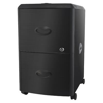 Storex 2-drawer Deluxe Mobile File Cabinet With Steel Accent Panels Black