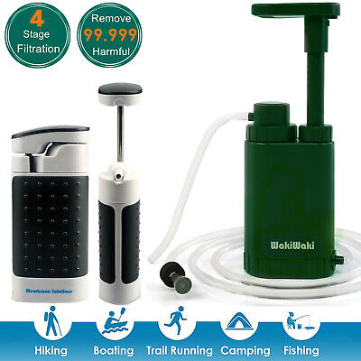 Personal Survival Water Filter Pump Purifier Camping Hking Backpacking Emergency