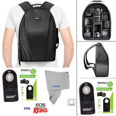 VIVITAR CAMERA BACKPACK BAG + REMOTE FOR CANON EOS REBEL 5D 6D 7D 80D 70D