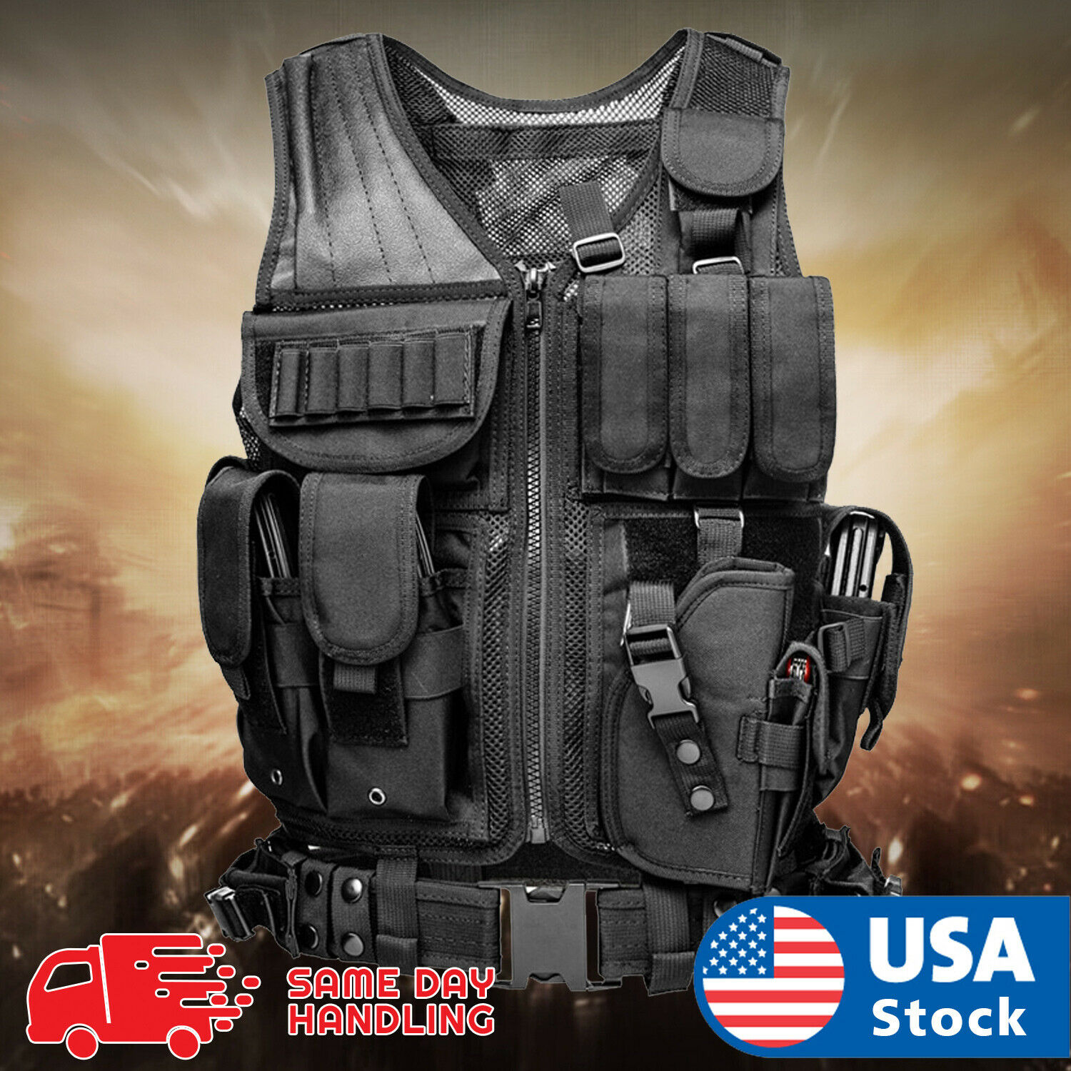 Military Vest Tactical Holster Police Molle Assault Combat Gear Chest Rigs & Tactical Vests