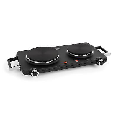 Placa de cocción doble Cocina electrica 1900-2250 W 150/180mmØ 5 potencias Negra