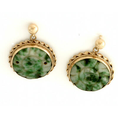 14K Gold Set Carved White and Green Jade Drop Earrings