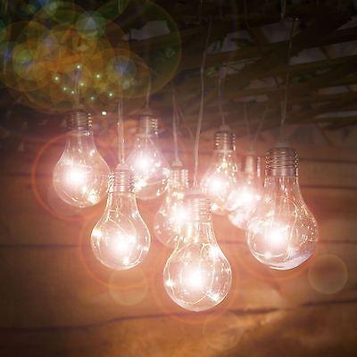10 Solar Powered Warm White LED Light Bulb String Lights Outdoor Indoor