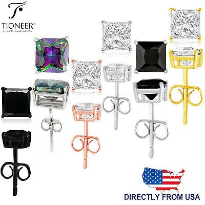 Sterling Silver 925 Princes Square Cut Cubic Zirconia Men Women Ear Stud Earring