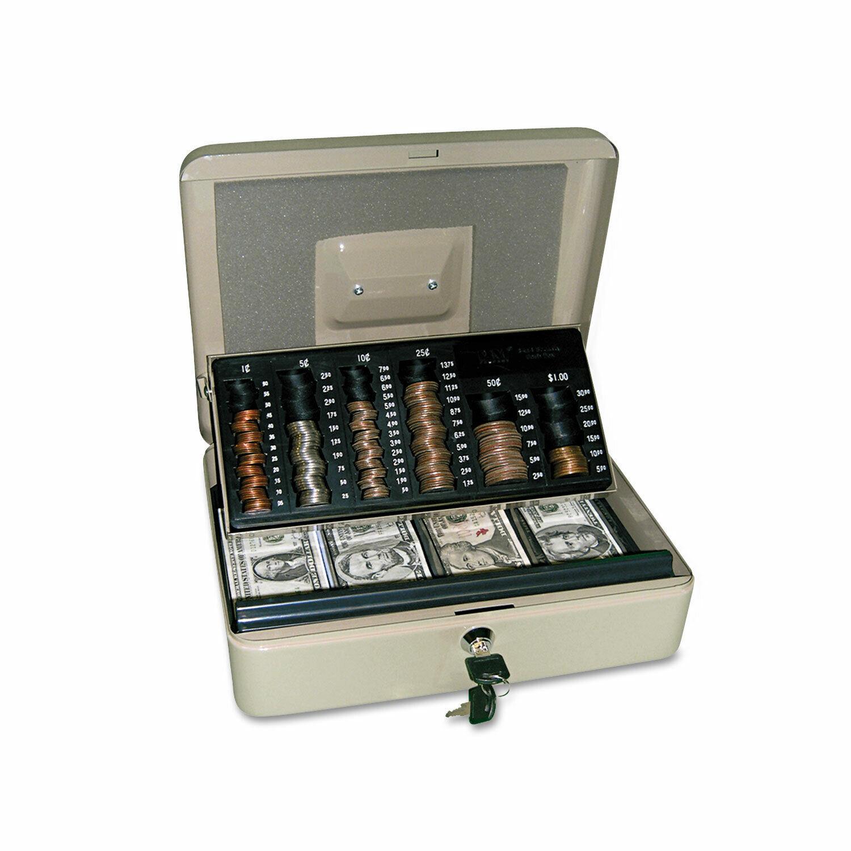 Pm Company 3in1 CashChangeStorage Steel Security Box wKey Lock Pebble Beige