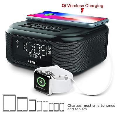 iHome Dual Alarm Clock with Qi Wireless Charging and USB Charge