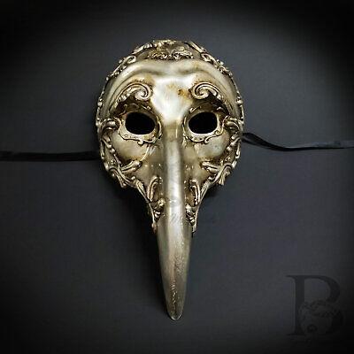 Vintage Silver Plague Doctor Venetian Mask Laser Cut Long-Nosed Masquerade Mask (Venetian Doctors Mask)