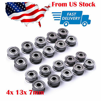 20pc U Groove Guide Pulley Rail Track Ball Bearings Wheel 4x 13x 7mm Us Stock
