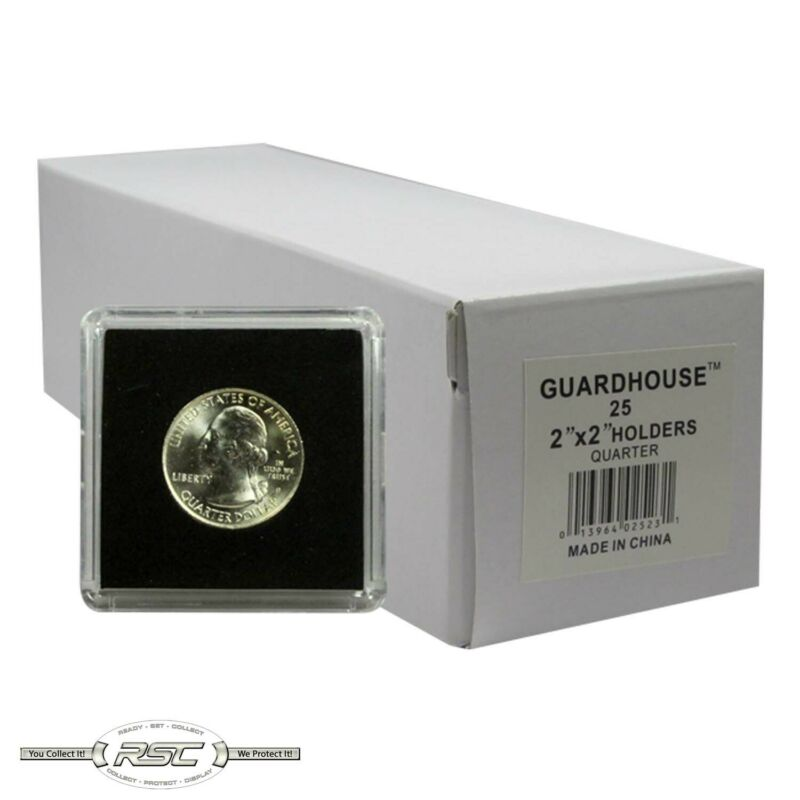25 - Guardhouse 2x2 Tetra Plastic Snaplocks Coin Holders for Quarters