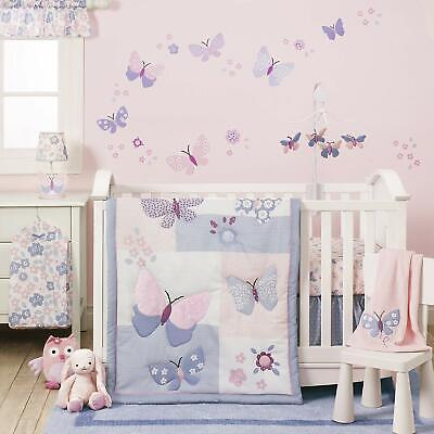 Crib Bedding Set Baby Girl Butterfly Pink Purple White Nursery 3 Piece