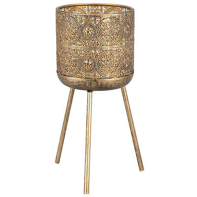 New Intricate Inspired Design Brushed Metal Planter with 3 Legs - Brushed Gold