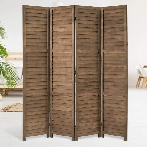 5.6 FT Vintage Room Divider Wood Freestanding Privacy Screen Partitions 4 Panels