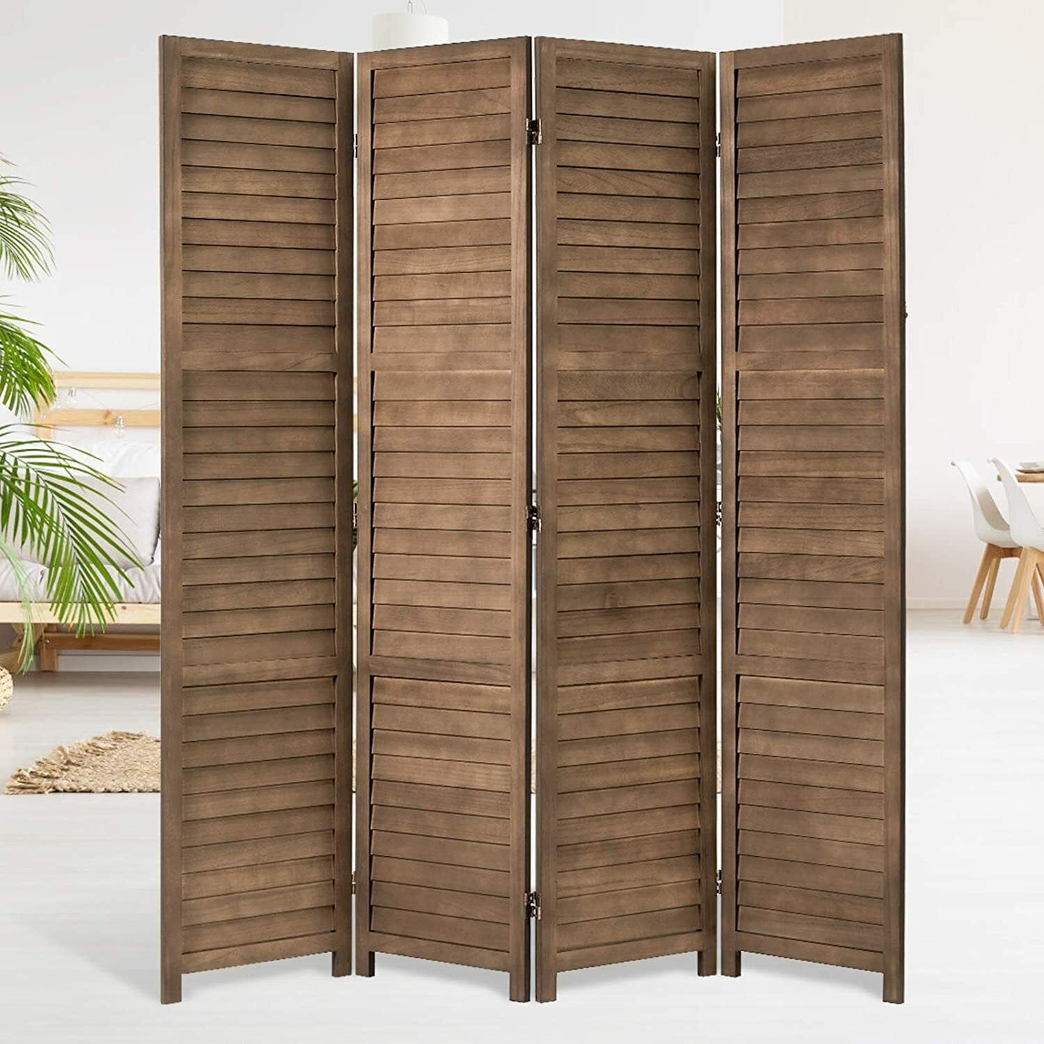 5.6 FT Vintage Room Divider Wood Freestanding Privacy Screen Partitions 4 Panels Furniture