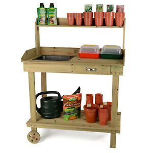 Wooden Potting Table Plant Flower Greenhouse Bench with Wheels by Christow