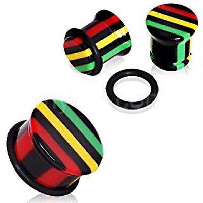 (PAIR-Rasta Colored Acrylic Single Flare Ear Plugs 14mm/9/16