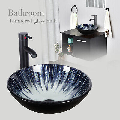 Bathroom Vessel Sink Artistic Tempered Glass Round Basin Bowl Faucet Drain -