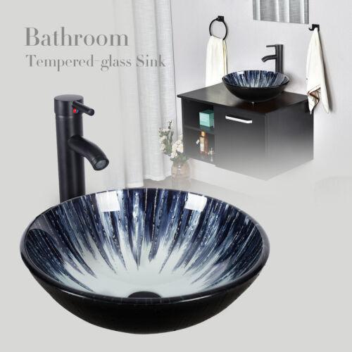 Elecwish Bathroom Vessel Sink Tempered Glass Basin Bowl Faucet Drain Combo