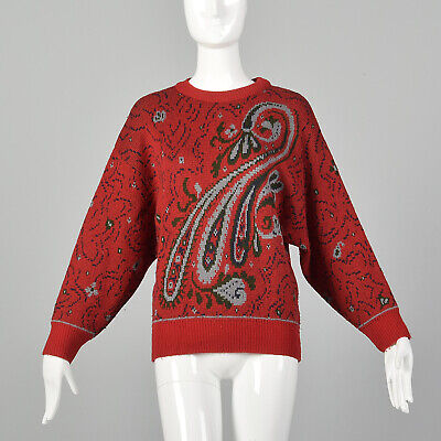 80s Sweatshirts, Sweaters, Vests | Women S 1980s Red Sweater Oversized Wool Knit Paisley Print Christmas Holiday 80s VTG $56.10 AT vintagedancer.com