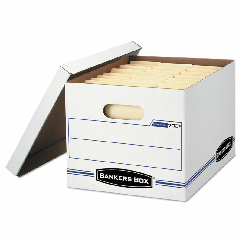 Bankers Box STOR/FILE Storage Box Letter/Legal Lift-off Lid White/Blue 4/Carton