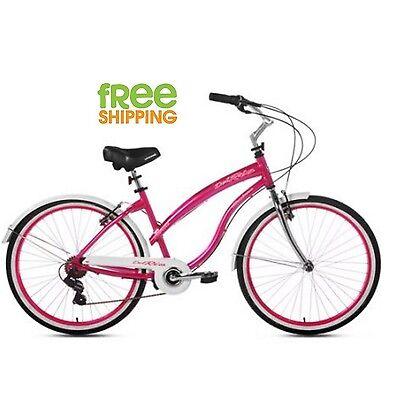 """Kent Women Bike 26"""" Cruiser Hybrid Bicycle 7 Speed Aluminum Frame Red Magenta"""