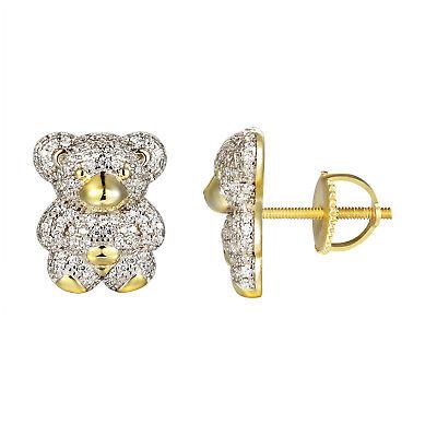 Teddy Bear Custom Earrings 14k Gold Finish Simulated Diamond Screw Back 14mm