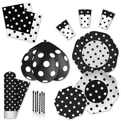 Black White Polka Dot Disposable Party Tableware Plates Cups Napkins Tablecover](Black And White Polka Dot Plates)