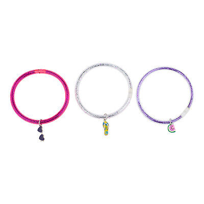 Lux Accessories Glittery Pink Silver Purple Beach Themed Charm Bangle