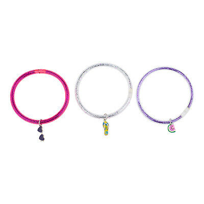 Lux Accessories Glittery Pink Silver Purple Beach Themed Charm Bangle - Beach Themed Accessories