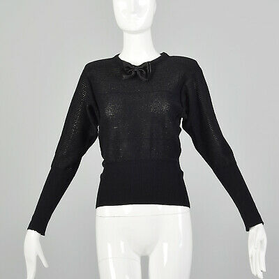 80s Sweatshirts, Sweaters, Vests | Women XXS Sonia Rykiel 1980s Black Lurex Stripe Designer Crew Sheer Sweater 80s VTG $168.30 AT vintagedancer.com