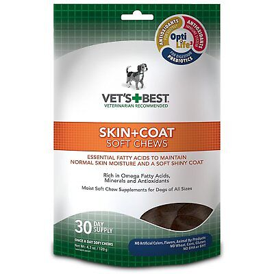 Vet's Best Skin & Coat Soft Chews Dog Supplements, 30 Day Supply