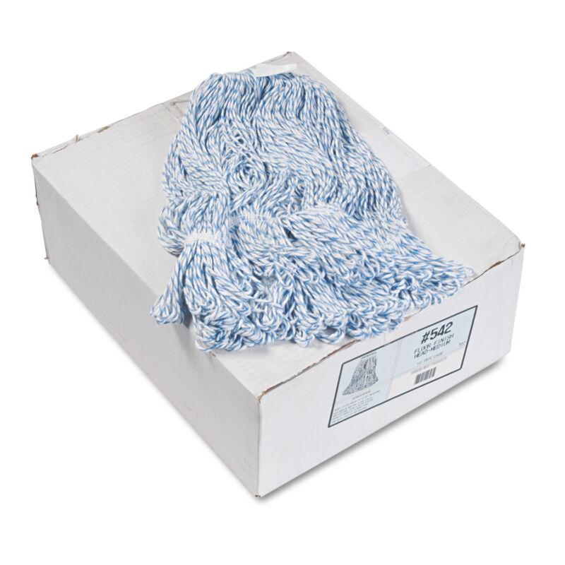 Boardwalk Mop Head Floor Finish Narrow Rayon/Polyester Medium White/Blue 12