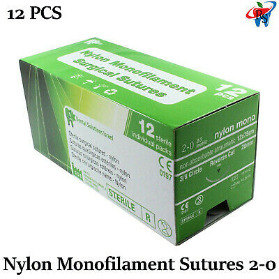 Nylon Monofilament Sterile Sutures 20 20mm 38 Circle Reverse 12 Pcs L 75cm