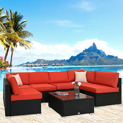 7PC Patio Sofa Furniture Garden Outdoor PE Rattan Poolside Yard Sectional Set