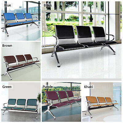 Pu Leather Waiting Room Chair Guest Reception Sofa Office Airport Bench 3-seat