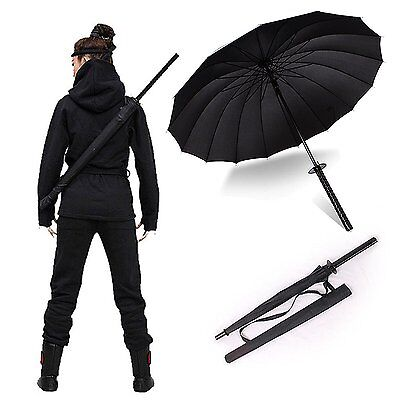 "38"" tall Black Samurai Ninja Katana Umbrella Samurai Swords Umbrella US Seller"