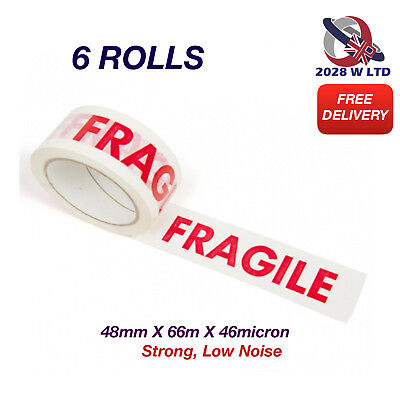 PRINTED FRAGILE PARCEL PACKING TAPE - 48mm*66m*46mic (STRONG, LOW NOISE) 6 ROLLS