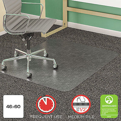 Deflecto Supermat Frequent Use Chair Mat Medium Pile Carpet Beveled 46 X 60