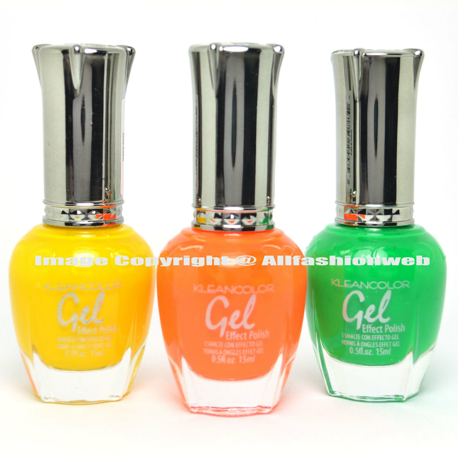 Kleancolor 3 Gel Effect Nail Polish Neon Yellow Orange Green