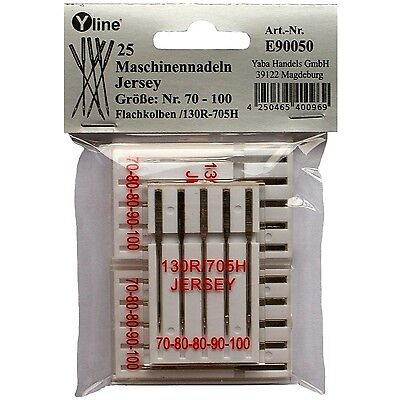 25 Nähmaschinen-, Maschinen- Nadeln Flachkolben Jersey 70-100, 130/705H, E90050