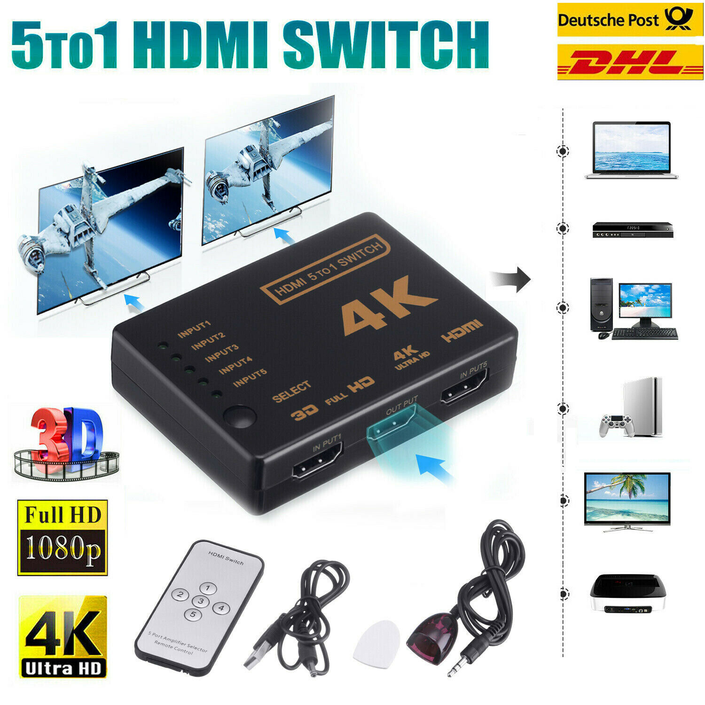 5 To 1 HDMI Splitter Selector Switch Adapter 3D HD 1080p 4K 5 Port IR Remote Hub
