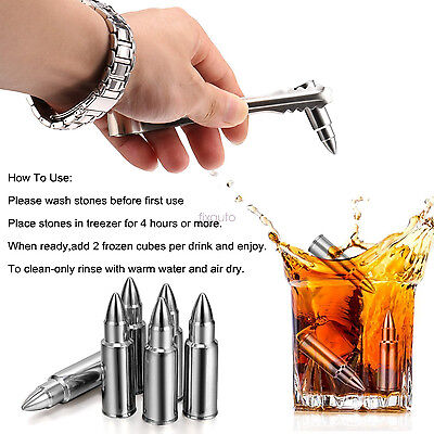 Stainless Steel Bullet Stone Whiskey Ice Cubes Rocks Cooling For Whiskey Drinks