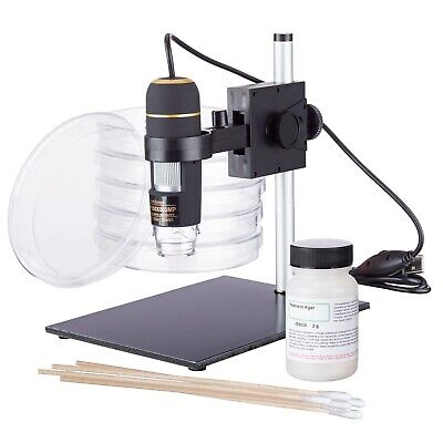 Amscope Stem Usb Digital Handheld Microscope With Bacteria Science Kit W Stand