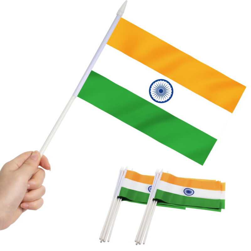 Anley India Mini Flag 12 Pack - Hand Held Small Miniature Indian Flags
